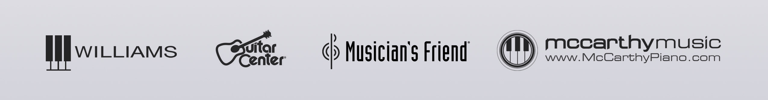 Williams Guitar Center Musicians Friend McCarthy Music Logos
