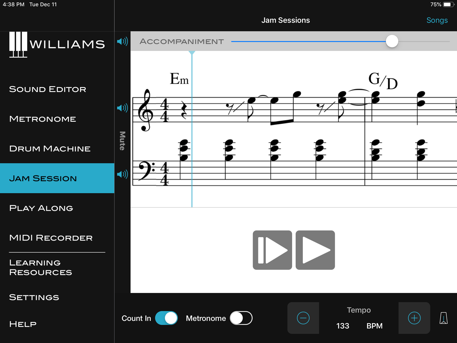 Williams App Sound Editor Jam Session