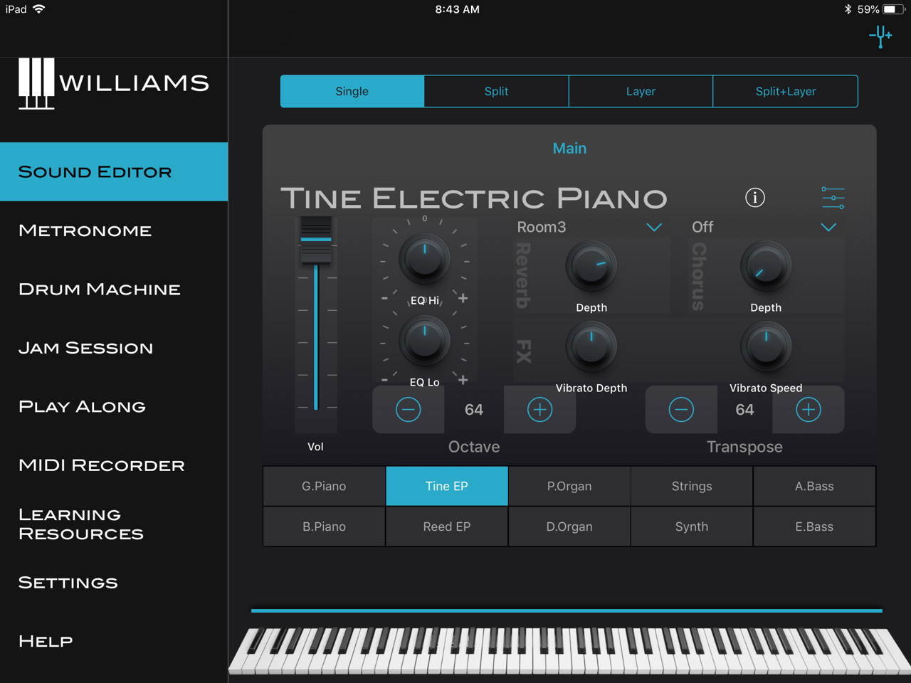 The Williams Piano App