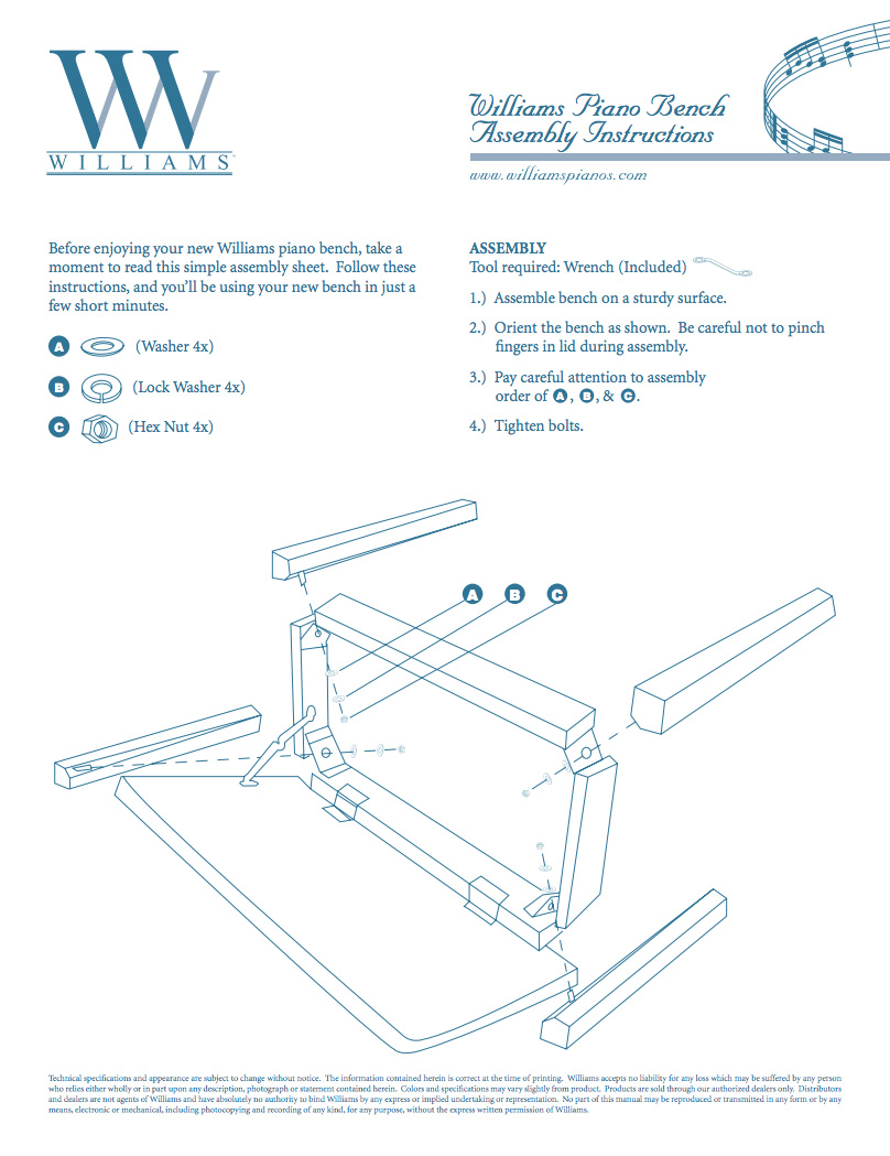Williams Piano Bench Manual